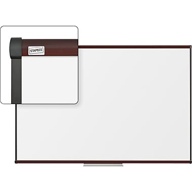 Staples Dry-Erase Board with Mahogany Frame, 6' x 4'
