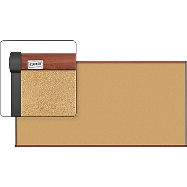 Staples Cork Bulletin Board with Cherry Finish Frame, 8' x 4'