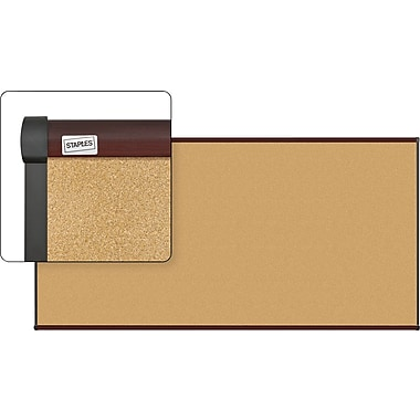 Staples Cork Bulletin Board, Mahogany Finish Frame, 8' x 4'
