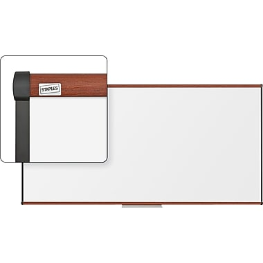 Staples Dry-Erase Board, Cherry Frame, 8' x 4'