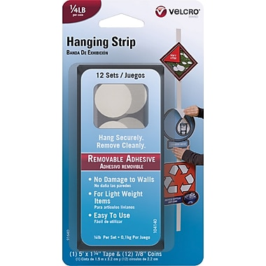 VELCRO Brand Removable Hanging Strips, White, 1/4 lb, 12 Sets