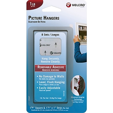 VELCRO Brand Removable Picture Hangers, 1lb, 8 Sets