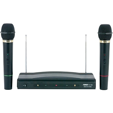 Naxa NAM-984 Wireless Dual Dynamic Professional Microphone, Black