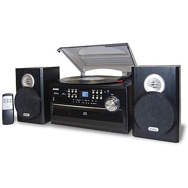 Jensen® JTA-475 3-Speed Stereo Turntable With CD System, Cassette and AM/FM Stereo Radio