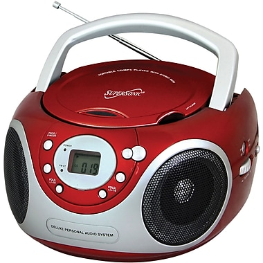 Supersonic® SC-507 Red Portable MP3/CD Player With AM/FM Radio
