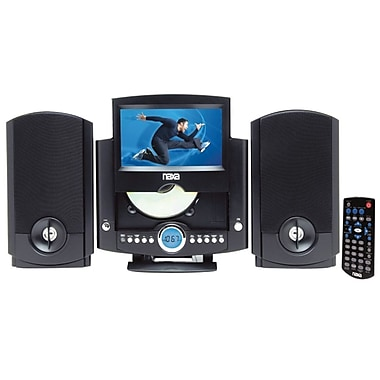 Naxa® NDL-431 Motorized DVD Micro System With PLL Digital AM/FM Radio and USB/SD/MMC Inputs, 7in. LCD