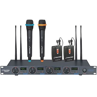 Pyle® PDWM7300 Wireless UHF Microphone System With 2 Lavalier/Handheld Microphone, 80 Hz - 12.5 kHz