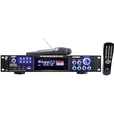 Pyle® PWMA3003T Hybrid Pre-Amplifier With AM-FM Tuner/USB/Dual Wireless Mic, 3000 W