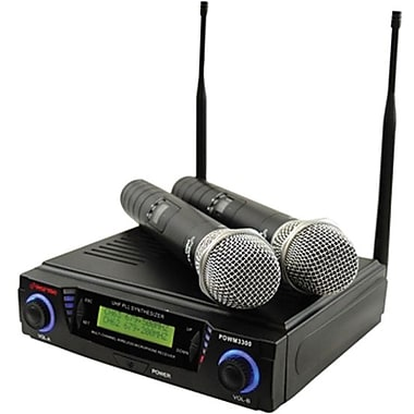 Pyle® PDWM3300 Wireless Professional UHF Microphone System With 2 Microphone, 75 Hz - 14.5 kHz