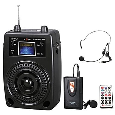 Pyle® PWMA80UFM Portable PA System With Wireless Lavalier Microphone, 200 Hz - 15 kHz