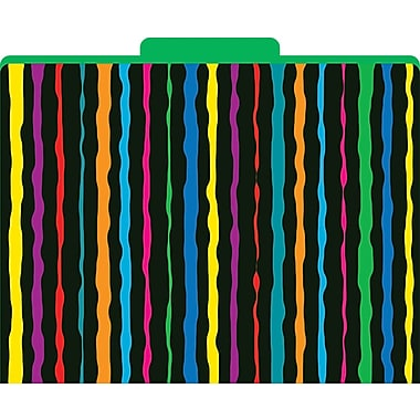Barker Creek Neon Stripes Decorative File Folders, Letter, 3 Tab, 12/pack (LL1315)