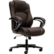 basyx by HON® BSXVL402SB45 VL402 Vinyl Executive High-Back Chair with Fixed Arms, Brown
