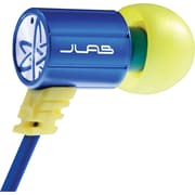 JBuds J4 Rugged Metal In-Ear Earbuds Style Headphones with Travel Case, Blue/Yellow