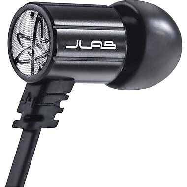 JBuds J4 Rugged Metal In-Ear Earbuds Style Headphones with Travel Case, Obsidian Black