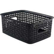 """Small Black Plastic Weave Bin 4 3/5""""H x 7 3/10""""W x 10""""D"""