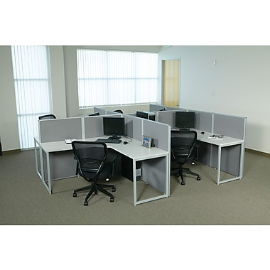 OSP Box Office Back to Back F-Shaped Workstation, 4 User