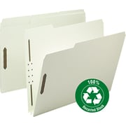 "Smead Recycled Pressboard Fastener Folders, Letter, , 2"" Exp., Gray-Green, 25/Box"