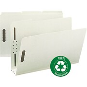 "Recycled Pressboard Fastener Folders, Legal,, 3"" Expansion, Gray/Green, 25/BX"