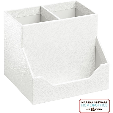 Martha Stewart Home Office™ with Avery™ Stack+Fit™ Shagreen Pencil Cup and Business Card Holder, White