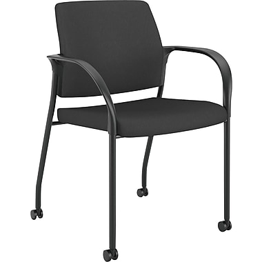 HON Ignition Multi-Purpose Stacking Chair with Casters, Black