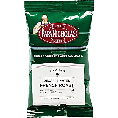 Papa Nicholas French Roast Ground Coffee, Decaffeinated, 2.5 oz., 18 packets