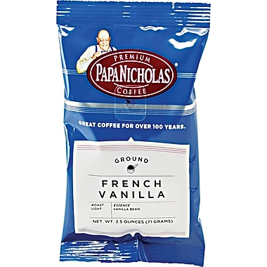 Papa Nicholas French Vanilla Ground Coffee, Regular, 2.5 oz., 18 Packets