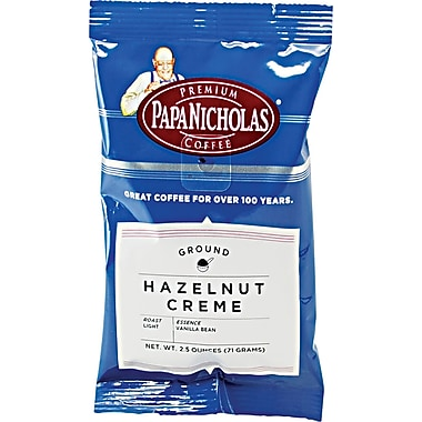 Papa Nicholas Hazelnut Creme Ground Coffee, Regular, 2.5 oz., 18 Packets