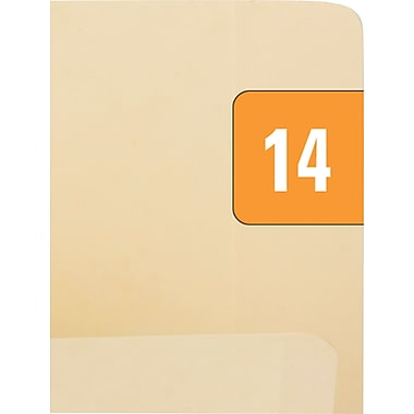 Smead Year 2014 End Tab Folder Labels, 1/2in. x 1in., Orange/White, 250/Pack