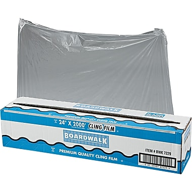 Boardwalk® 7229 Food Wrap Film Roll With Cutter, 2000'(L) x 24in.(W), Clear