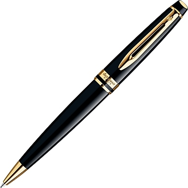 Waterman Expert Matte Black/Gold Trim Ballpoint Pen, Medium Point, 1.0mm, Black, Each