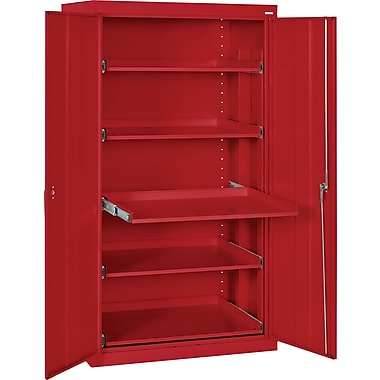 Sandusky Pull Out Tray Shelves Storage, Red