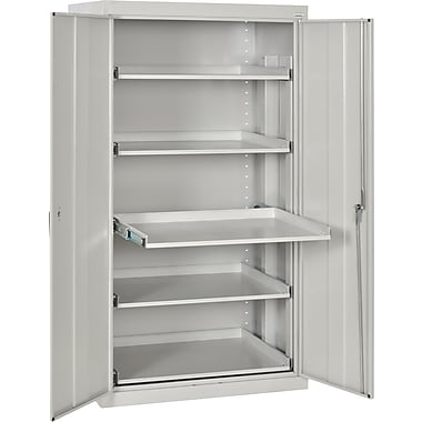 Sandusky Pull Out Tray Shelves Storage, Dove Gray
