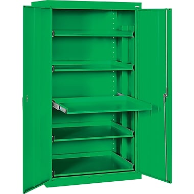 Sandusky Pull Out Tray Shelves Storage, Primary Green