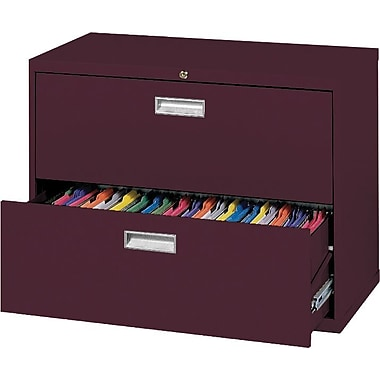 Sandusky 36in. Lateral File, 2-Drawer, Burgundy