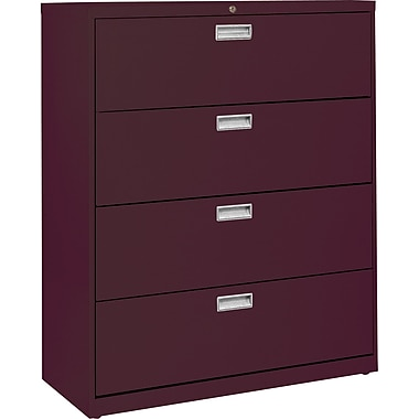 Sandusky 36in. Lateral File, 4-Drawer, Burgundy