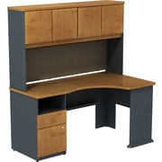 Bush Business Cubix 60W Single Pedestal Corner Desk with Hutch, Natural Cherry/Slate, Installed