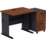 Bush Business Cubix 36W Desk with 2-Drawer Mobile Pedestal, Hansen Cherry/Galaxy, Installed