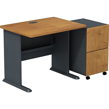 Bush Business Cubix 36W Desk with 2-Drawer Mobile Pedestal, Natural Cherry/Slate, Installed