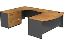 Bush Westfield 72' Bowfront Desk & 72' LH Corner Module w/ Lateral FileNatural Cherry/Graphite Gray, FA