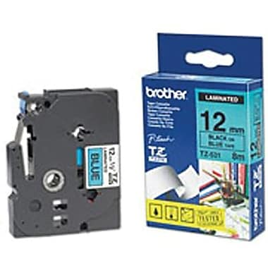 Brother Label Tape, 12mm Black on Blue, TZE31