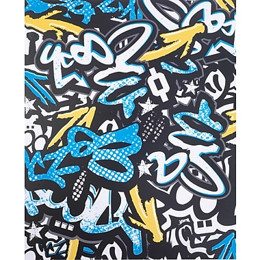Staples® 2-Pocket Poly Folder, Blue Graffiti