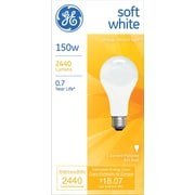150 Watt GE A-21 Longer-Life Incandescent Bulb, Soft White