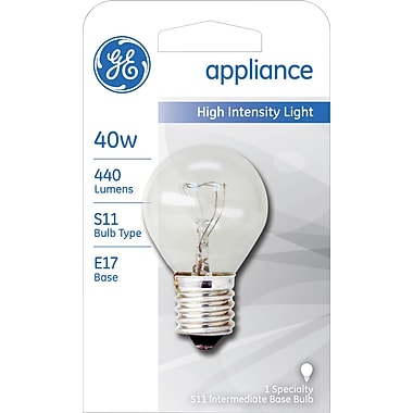 40 Watt GE S-11 High-Intensity Incandescent Bulb, Clear