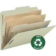 "Pressboard Classification Folder, 3"" Expansion, 6 Dividers, Letter, , Gray/Green, 10/BX"