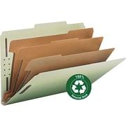 "Pressboard Classification Folder, 3"" Expansion, 6 Dividers, Legal,, Gray/Green, 10/BX"