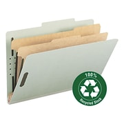 "Pressboard Classification Folder, 2"" Expansion, 2 dividers, Legal,, Gray/Green, 10/BX"