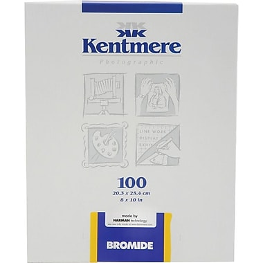 Kentmere 6006789 Bromide Black and White Photo Paper, 8in.(W) x 10in.(L), Gloss, 100 Sheets