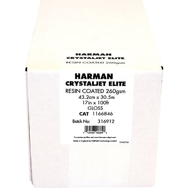 Harman Multimedia 1166846 Crystaljet Elite Inkjet Paper, 17in.(W) x 100'(L), Gloss