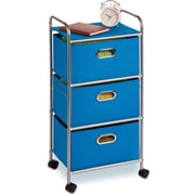 Honey Can Do 3-Drawer Rolling Cart, Blue