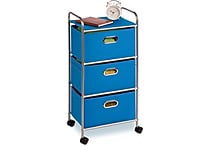 Honey Can Do Plastic Storage Drawer Cart, 3 Drawer, Blue